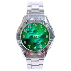 Fractal Maths Design Backdrop Stainless Steel Analogue Watch