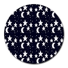 Starry Night Cartoon Print Pattern Round Mousepads by dflcprintsclothing