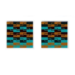 Illusion In Orange & Teal Cufflinks (square) by WensdaiAddamns