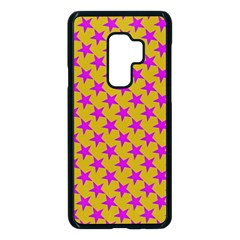 Pink Stars Pattern On Yellow Samsung Galaxy S9 Plus Seamless Case(black)
