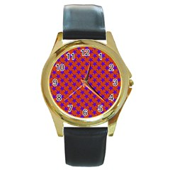 Purple Stars Pattern On Orange Round Gold Metal Watch by BrightVibesDesign