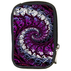 Fractal Background Swirl Art Skull Compact Camera Leather Case