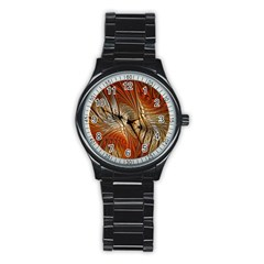Pattern Background Swinging Design Stainless Steel Round Watch by Pakrebo