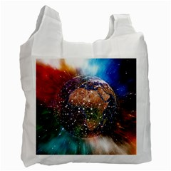 Network Earth Block Chain Globe Recycle Bag (one Side) by Pakrebo