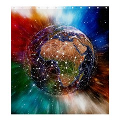 Network Earth Block Chain Globe Shower Curtain 66  X 72  (large)
