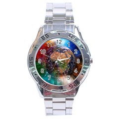 Network Earth Block Chain Globe Stainless Steel Analogue Watch