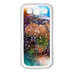 Network Earth Block Chain Globe Samsung Galaxy S3 Back Case (white)