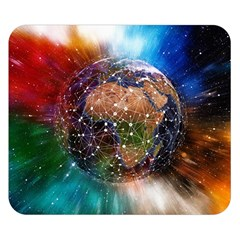 Network Earth Block Chain Globe Double Sided Flano Blanket (small)