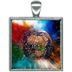 Network Earth Block Chain Globe Square Necklace by Pakrebo