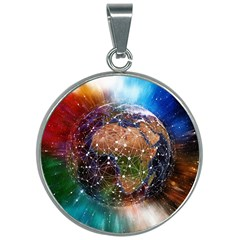 Network Earth Block Chain Globe 30mm Round Necklace