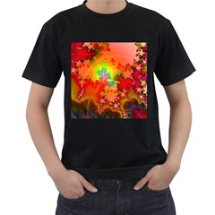 Background Abstract Color Form Men s T Shirt (black) (two Sided)