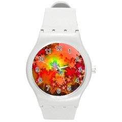 Background Abstract Color Form Round Plastic Sport Watch (m)