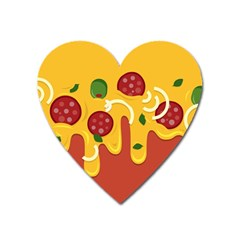 Pizza Topping Funny Modern Yellow Melting Cheese And Pepperonis Heart Magnet by genx
