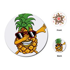 Dabbing Pineapple Sunglasses Shirt Aloha Hawaii Beach Gift Playing Cards (round) by SilentSoulArts