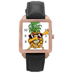 Dabbing Pineapple Sunglasses Shirt Aloha Hawaii Beach Gift Rose Gold Leather Watch  by SilentSoulArts