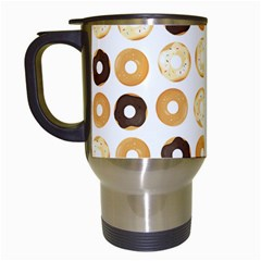 Donuts Pattern With Bites Bright Pastel Blue And Brown Cropped Sweatshirt Travel Mugs (white)