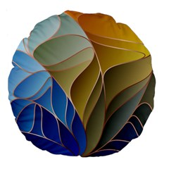 Modern Colorful Abstract Art Large 18  Premium Flano Round Cushions