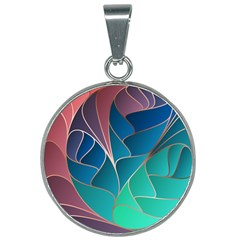 Modern Colorful Abstract Art 25mm Round Necklace