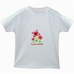 Flowers And Cute Phrase Pencil Drawing Kids White T Shirts