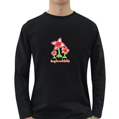 Flowers And Cute Phrase Pencil Drawing Long Sleeve Dark T-shirt by dflcprintsclothing