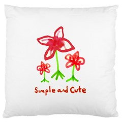 Flowers And Cute Phrase Pencil Drawing Large Cushion Case (two Sides)