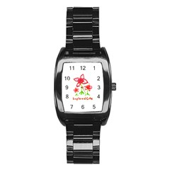 Flowers And Cute Phrase Pencil Drawing Stainless Steel Barrel Watch
