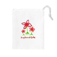 Flowers And Cute Phrase Pencil Drawing Drawstring Pouch (large) by dflcprintsclothing