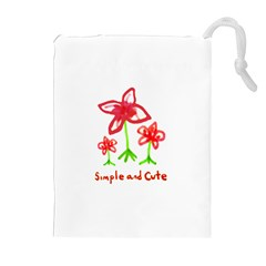 Flowers And Cute Phrase Pencil Drawing Drawstring Pouch (xl) by dflcprintsclothing