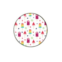 Popsicle Juice Watercolor With Fruit Berries And Cherries Summer Pattern Hat Clip Ball Marker (4 Pack) by genx