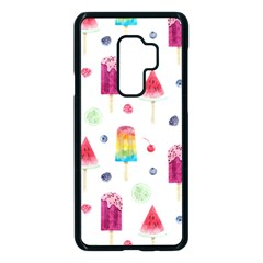 Popsicle Juice Watercolor With Fruit Berries And Cherries Summer Pattern Samsung Galaxy S9 Plus Seamless Case(black)