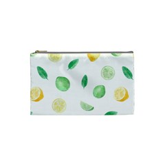 Lemon And Limes Yellow Green Watercolor Fruits With Citrus Leaves Pattern Cosmetic Bag (small) by genx
