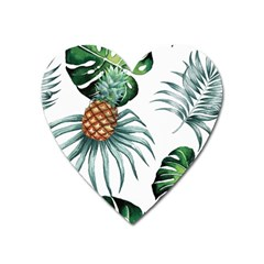 Pineapple Tropical Jungle Giant Green Leaf Watercolor Pattern Heart Magnet by genx