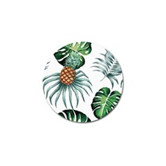 Pineapple Tropical Jungle Giant Green Leaf Watercolor Pattern Golf Ball Marker (10 Pack) by genx