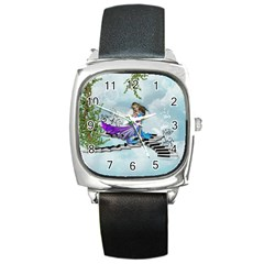 Cute Fairy Dancing On A Piano Square Metal Watch by FantasyWorld7