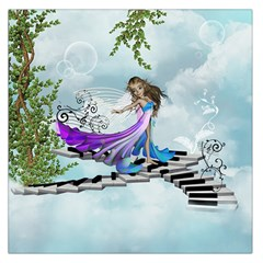 Cute Fairy Dancing On A Piano Large Satin Scarf (square) by FantasyWorld7