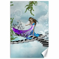 Cute Fairy Dancing On A Piano Canvas 24  X 36  by FantasyWorld7