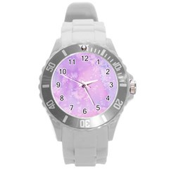 Pastel Salty Watercolor Texture Round Plastic Sport Watch (l) by tarastyle