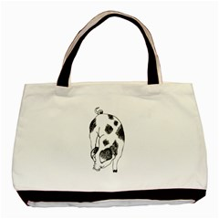 Pig Sniffing Hand Drawn With Funny Cow Spots Black And White Basic Tote Bag (two Sides)