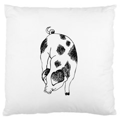 Pig Sniffing Hand Drawn With Funny Cow Spots Black And White Large Flano Cushion Case (one Side)