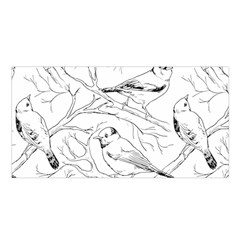 Birds Hand Drawn Outline Black And White Vintage Ink Satin Shawl by genx