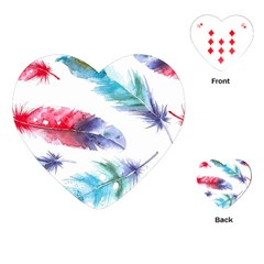Feathers Boho Style Purple Red And Blue Watercolor Playing Cards (heart) by genx