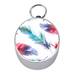 Feathers Boho Style Purple Red And Blue Watercolor Mini Silver Compasses by genx
