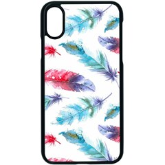 Feathers Boho Style Purple Red And Blue Watercolor Iphone X Seamless Case (black) by genx
