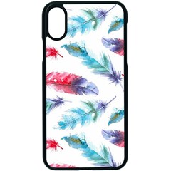 Feathers Boho Style Purple Red And Blue Watercolor Iphone Xs Seamless Case (black) by genx