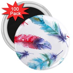 Feathers Boho Style Purple Red And Blue Watercolor 3  Magnets (100 Pack) by genx