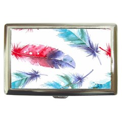 Feathers Boho Style Purple Red And Blue Watercolor Cigarette Money Case by genx