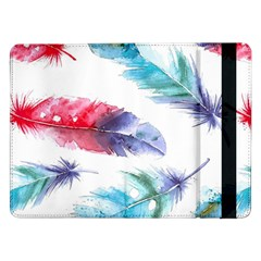 Feathers Boho Style Purple Red And Blue Watercolor Samsung Galaxy Tab Pro 12 2  Flip Case by genx