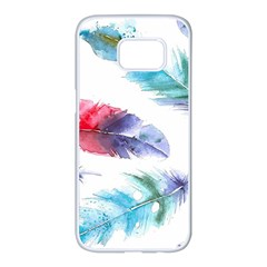 Feathers Boho Style Purple Red And Blue Watercolor Samsung Galaxy S7 Edge White Seamless Case by genx