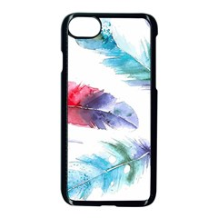 Feathers Boho Style Purple Red And Blue Watercolor Iphone 8 Seamless Case (black) by genx