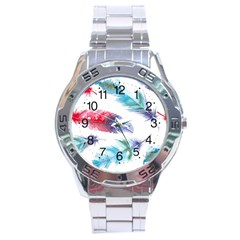 Feathers Boho Style Purple Red And Blue Watercolor Stainless Steel Analogue Watch by genx